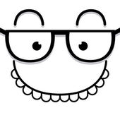 A Vector Cute Cartoon White Face With Glasses — Stock Vector
