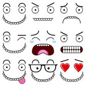 A Cartoon Set Of Different Cute Faces — Vecteur