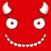 A Vector Cute Cartoon Devil Smiling Face — ストックベクタ