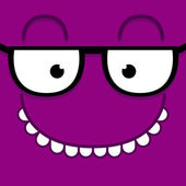 A Vector Cute Cartoon Purple Face With Glasses — Stock Vector