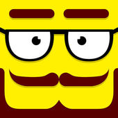 A Vector Cute Cartoon Yellow Hipster Face — Stock Vector