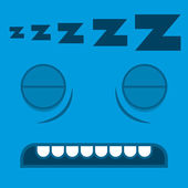 A Vector Cute Cartoon Sleeping Blue Face — Stock Vector