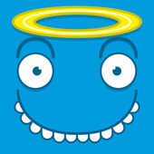 A Vector Cute Cartoon Blue Angel Face — Vector de stock
