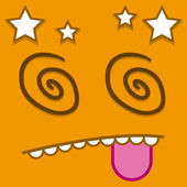 A Vector Cute Cartoon Orange Dizzy Face — Stock Vector