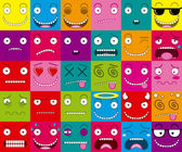 Vector Cartoon Set Of Thirty Different Faces — Stock Vector