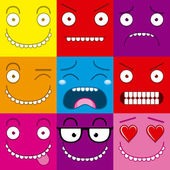 Vector Cartoon Set Of Different Cute Faces — ストックベクタ