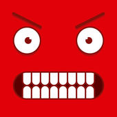 A Vector Cute Cartoon Red Furious Face — Stock Vector
