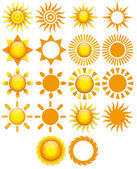 Set Of Different Abstract Suns Isolated On White Background — Stock Vector