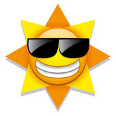 Funny Cartoon Sun Icon Isolated On White Background — Stock Vector