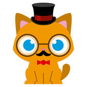Adorable Cartoon Cat Dressed As A Gentleman — Stock Vector