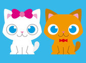 Adorable Cartoon Cat Couple On Background — Vector de stock