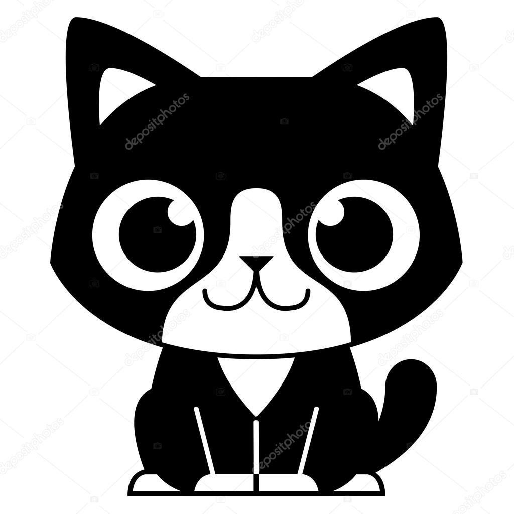 Adorable chat noir et blanc dessin anim image - Chat dessin noir et blanc ...