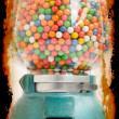 Old chewing gum vending machine about 1950 on grunge — Stock Photo