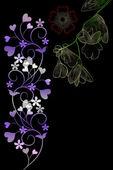 Kupa çiçek ve retro motifleri — Stok fotoğraf