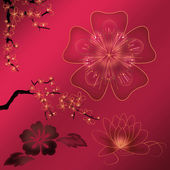 Beautiful illustrated flower background design with gradient — Stockfoto