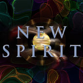 Abstract illustrated wonderful glass background object with text NEW SPIRIT — Stock Photo