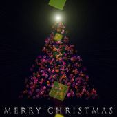 Wonderful Christmas tree design illustration with lights — Stock Photo