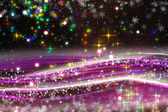 Fantastic Christmas wave design with snowflakes and glowing stars — ストック写真