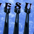 Hands Lifted For Jesus — Stock Photo