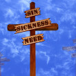 Three Crosses, Sin, Sickness, Need — Stock Photo