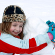 Happy With Her Snowman — Stock Photo