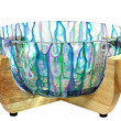 Hand Painted Glass Salad Bowl in Wood Stand — 图库照片