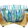 Hand Painted Glass Salad Bowl in Wood Stand — Stockfoto