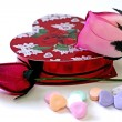 Chocolates, Heart Candies, & Wood Roses — Stock Photo