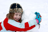 Happy With Her Snowman — Foto de Stock