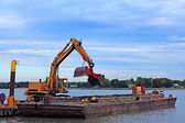 Barge Dredging Harbor — Stock Photo