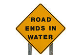 Yellow Warning Sign That States Road Ends In Water — Stock Photo