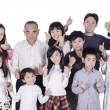 Happy multi generation family thumbs up — Stock Photo