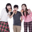 Royalty-Free Stock Photo: Pretty girls eating apples