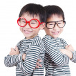Stockfoto: Two brother smiling on white background