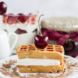 Viennese waffles with cherry — Stock Photo
