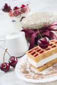 Belgian waffles with cherry — Stock Photo