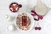 Dessert with cherry — Stock Photo