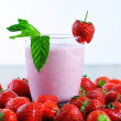 Stock Photo: Strawberry shake closeup and white background