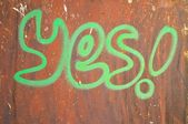 """yes"" wrote on rusty background — Foto de Stock"