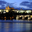 Blue hour at the charles bridge and the prague castle at the mol — Stock Photo