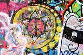 Colorful graffiti at the john lennon wall in prague — Stock Photo