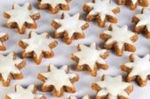 Tasty cinnamon stars against white background from the side — Stock fotografie
