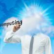 Businessman is working in the cloud writing with a pen cloud computing — Stock Photo