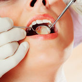 Close up of an dental examination — Stock Photo