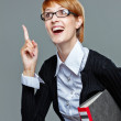 Young business woman holding a folder — Stock Photo