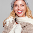Woman in fall fashion smiling — Stock Photo