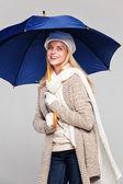 Woman in fall fashion with umbrella — Stock Photo