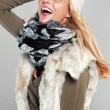 Woman having fun in autumn fashion — Stock Photo