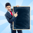 Businessman holding a panel  — Stock Photo