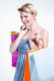 Mladá žena, nakupování — Stock fotografie